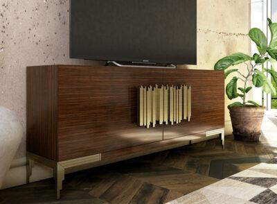 Mueble TV contemporáneo madera oscura y detalles dorados