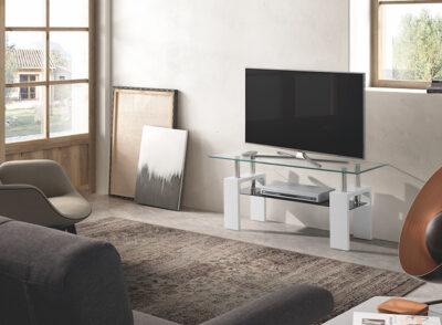 Mueble TV cristal templado y patas blancas