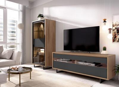 Mueble TV grafito y madera con vitrina y puertas de cristal