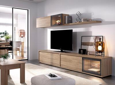 Mueble TV industrial con módulo colgante y estante a juego