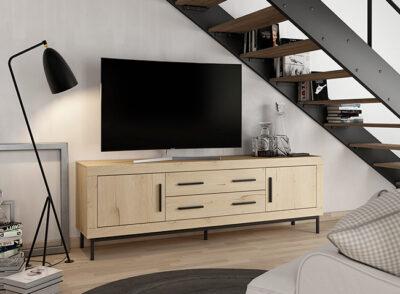 Mueble TV madera clara y patas negras