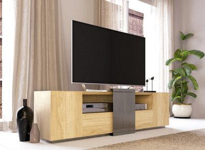 Mueble TV madera natural con huecos para dispositivos