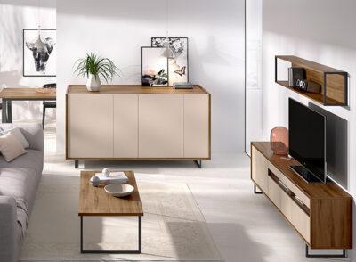 Mueble TV madera oscura y arena y estantería de pared