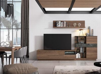 Mueble TV marrón oscuro con aparador y estante