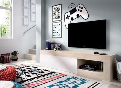 Mueble TV minimalista blanco y roble con puerta y hueco para dispositivos