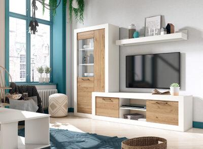Mueble TV nórdico blanco y madera