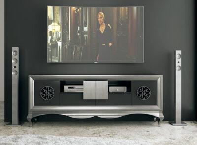 Mueble TV plateado y negro con patas isabelinas