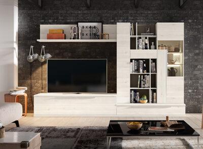 Mueble TV y aparador blanco con estantería y módulos de almacenaje