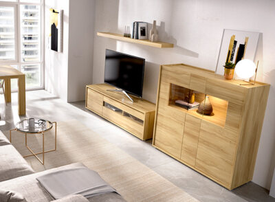Mueble TV y aparador grande con estante color madera