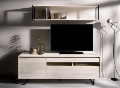 Mueble TV y estantería color madera blanqueada