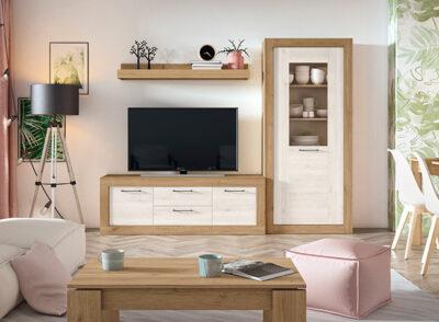 Mueble TV y vitrina blanco y beige