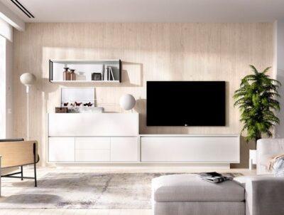 Muebles bajos blancos salón con aparador y almacenaje