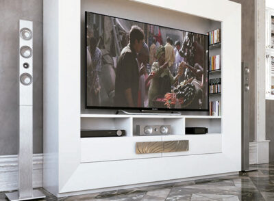 Muebles de lujo para TV color blanco mate conjunto completo