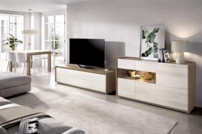 Muebles de salón claros con mueble TV y aparador madera y crudo