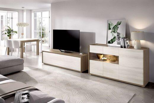 muebles-de-salon-claros-con-mueble-tv-y-aparador-madera-y-crudo-006duo15