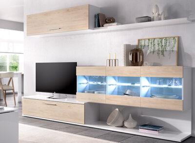 Muebles de salón con luces led en color blanco brillo y madera natural