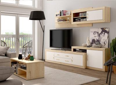 Muebles de salón de diseño moderno blanco tiradores dorados