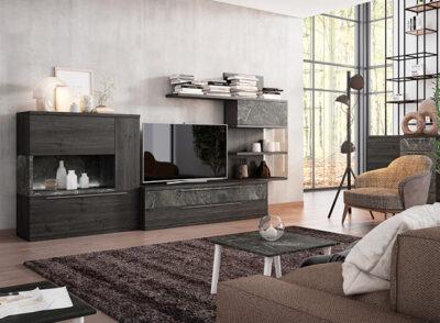 Muebles de salón elegantes con aparador escritorio y estantería