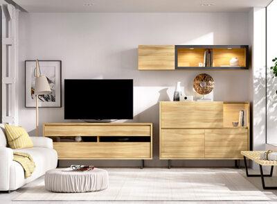 Muebles de salón TV con aparador grande y módulo colgante color madera