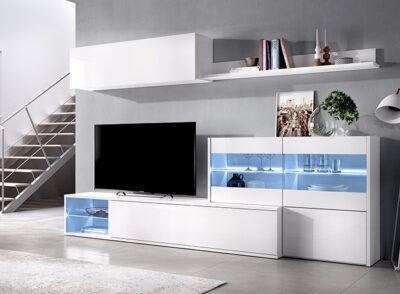 Muebles de TV con luz led en color blanco brillo composición completa