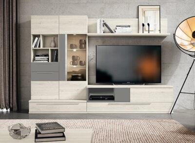 Muebles de tv diseño moderno gris y blanco