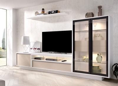 Muebles modulares de TV con dos muebles bajos y vitrina doble