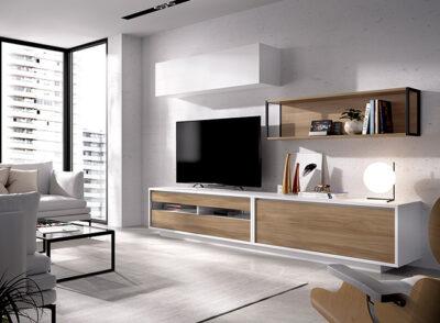 Muebles para TV en pared con mueble de televisión, módulo colgante y estante