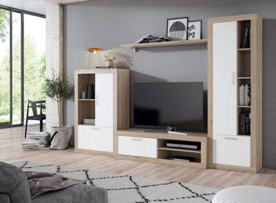Muebles para TV modernos en madera y blanco