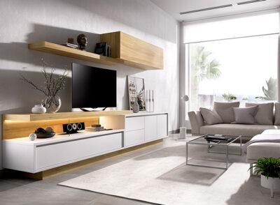 Muebles pared televisor con mueble TV, con módulo colgante y estante madera y blanco
