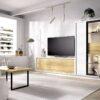 vitrina-cristal-salon-blanco-con-mueble-tv-de-madera