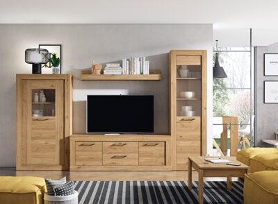 Vitrina madera salón rústico + mueble TV y estante