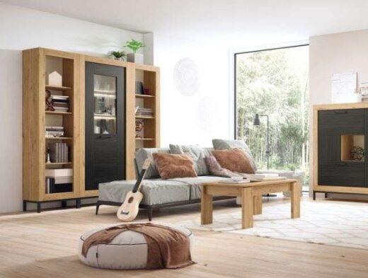 vitrina-salon-madera-y-negro-1 puerta-040gn06