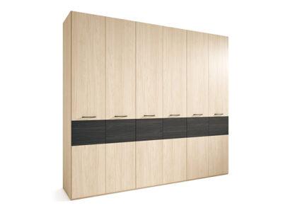 Armario 250 ancho con 6 puertas bicolor madera y negro