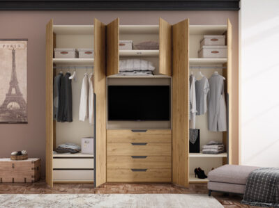 Armario con televisión integrada (solo hueco para TV) de madera