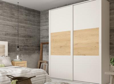 Armario puertas correderas 240 cm blanco y madera