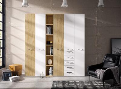 Armario roble y blanco 5 puertas con cajones y estantería central
