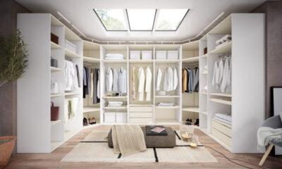 Armario vestidor blanco con cajones interiores