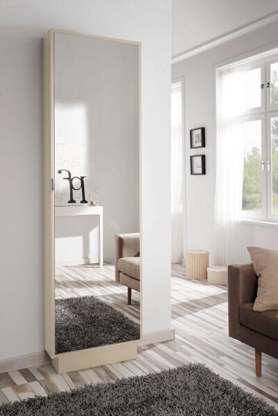 Armario zapatero con espejo color madera clara