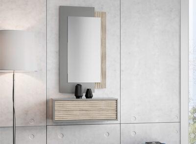 Balda con cajón para recibidor gris y madera