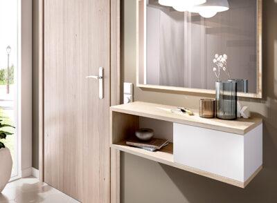 Consola espejo para recibidor blanco y madera