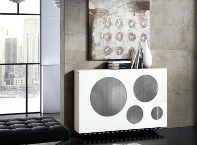 Cubreradiador lacado blanco con estante