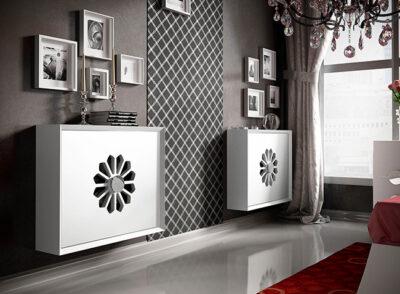Cubreradiadores blancos modernos con rosetón central
