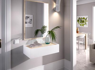 Estante cajón recibidor blanco y madera con espejo