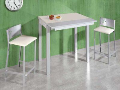 Mesa alta cocina estrecha color blanco extensible