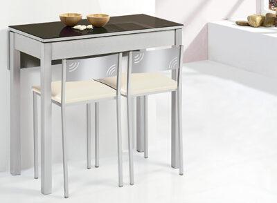 Mesa barra de cocina extensible con 1 ala abatible