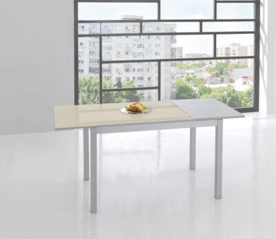 Mesa cocina 120×70 extensible con patas de aluminio