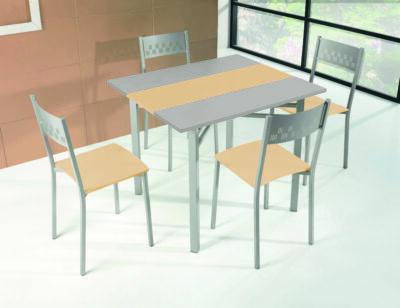 Mesa cocina alas abatibles gris y madera