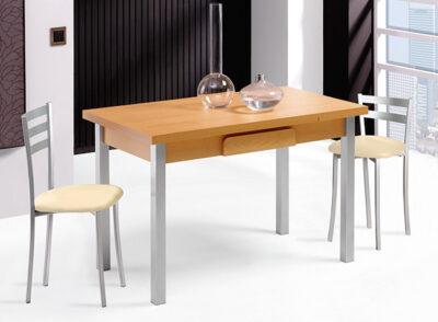 Mesa cocina con cajón cubertero extensible madera y aluminio