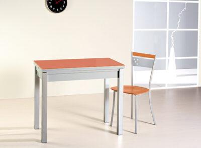 Mesa cocina cristal naranja extensible