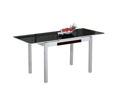 Mesa cocina cristal negro extensible con patas de aluminio